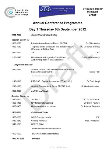 Annual Conference Programme Day 1 Thursday 6th September 2012