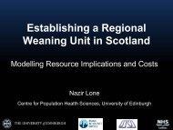 Establishing a regional weaning unit in Scotland