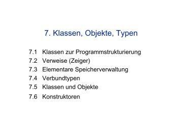 7. Klassen, Objekte, Typen - auf Matthias-Draeger.info