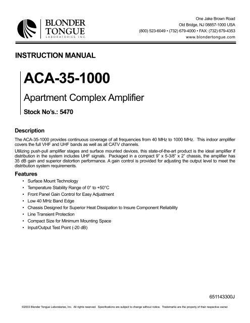 ACA-35-1000 - Blonder Tongue Laboratories Inc.