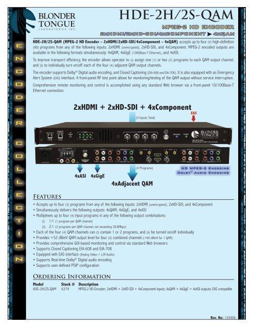 HDE-2H/2S-QAM - Blonder Tongue Laboratories Inc.