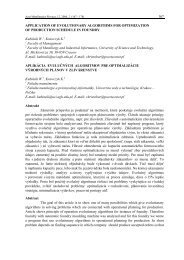 APPLICATION OF EVOLUTIONARY ALGORITHMS FOR ...