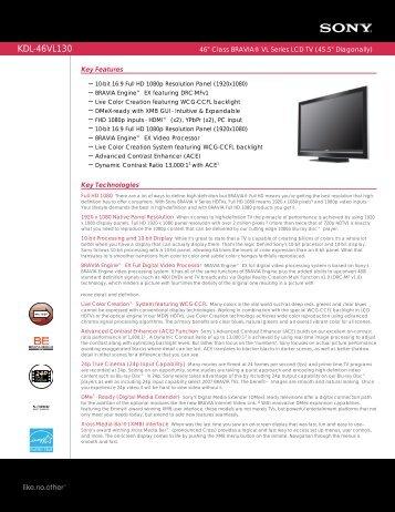 KDL-46VL130 - Manuals, Specs & Warranty - Sony