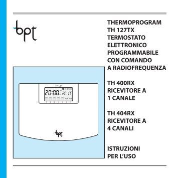 Bpt th124 autos post for Bpt thermoprogram istruzioni