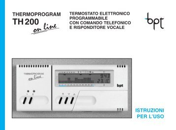 Termostato bpt th 124 istruzioni autos post for Termostato bpt thermoprogram th 24