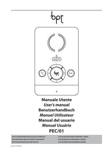 manuale utente pec/01 - Bpt