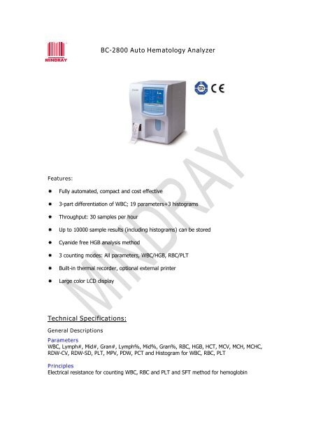 BC-2800 Auto Hematology Analyzer Technical Specifications: