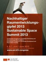 Nachhaltiger Raumentwicklungs- gipfel 2013 Sustainable Space ...