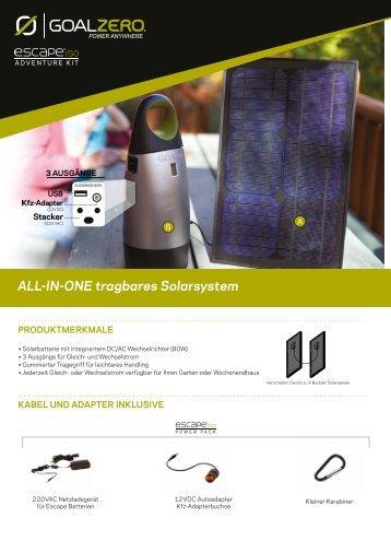 Produktbeschreibung Escape Serie - Solarbag-Shop