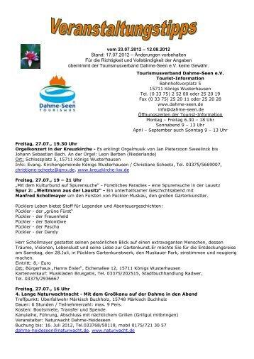 vom 23.07.2012 - Tourismusverband Dahme-Seen eV