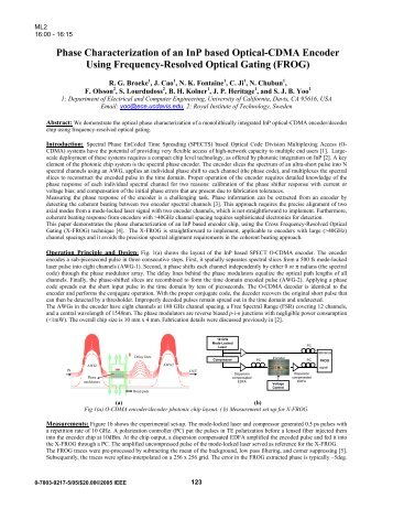 Phase Characterization of an InP based Optical-CDMA Encoder ...