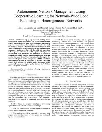 Autonomous Network Management Using Cooperative Learning for ...