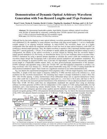 Demonstration of Dynamic Optical Arbitrary Waveform Generation ...