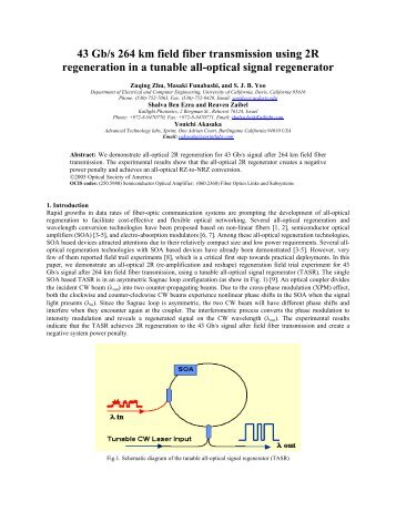 43 Gb/s 264 km field fiber transmission using 2R regeneration in a ...