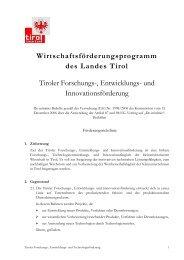 und Innovationsförderung - Land Tirol