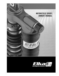 MOTORCYCLE SERIES OWNER's MANUAL - Elka Suspension Inc.