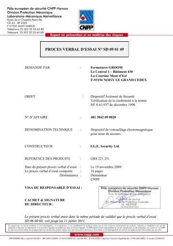 proces verbal d'essai n° sd 09 01 49 - Quincaillerie PORTALET