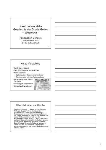 Josef, Juda und die Geschichte der Gnade Gottes -- Einführung ...