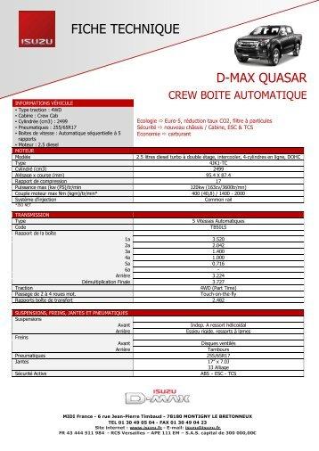 Quasar Crew Boite Automatique - Isuzu