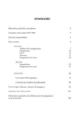 GUIDE PLISE _5 09 2007 bis - La Faculté des Sciences Sociales de ...
