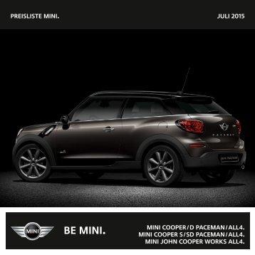 Preisliste mini. NOVEMBER 2013 mini cooper / D Paceman ... - Mini.ch