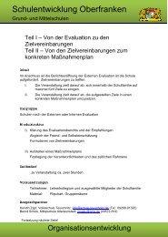 Von der Evaluation zu Zielvereinbarungen - Schulen in Oberfranken