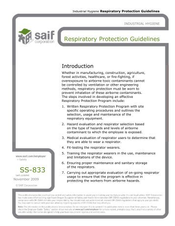 SS-833 Respiratory Protection Guidelines - SAIF Corporation