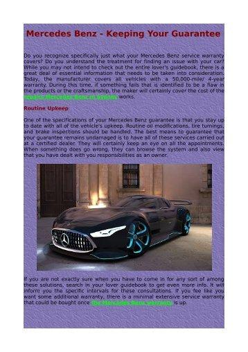 Mercedes Benz - Keeping Your Guarantee