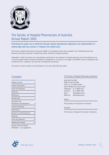 32733 SHPA Annual Report - The Society of Hospital Pharmacists of ...