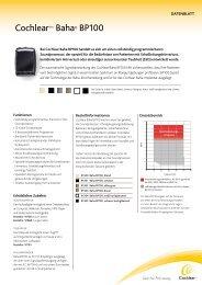 Datenblatt BP100 - Cochlear Baha