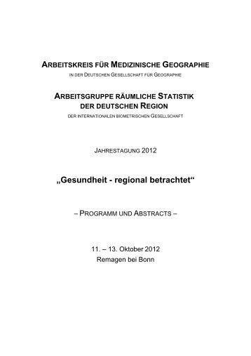 """""""Gesundheit - regional betrachtet"""" - Räumliche Statistik"""