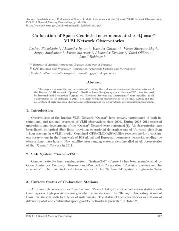 "Co-location of Space Geodetic Instruments at the ""Quasar ... - IVS"