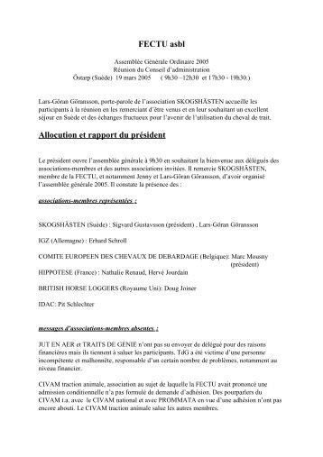 Allocution et rapport du président - Association Hippotese