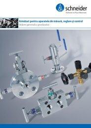 Armături pentru aparatele de măsură, reglare şi control