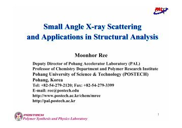 Small Angle X-ray Scattering and Applications in Structural Analysis ...