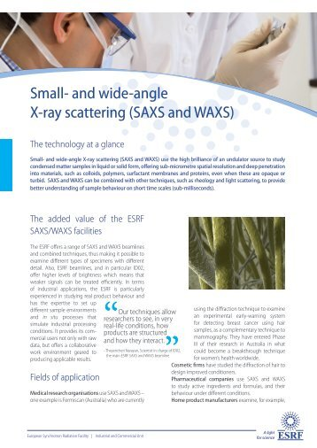 Small- and wide-angle X-ray scattering (SAXS and WAXS) - ESRF