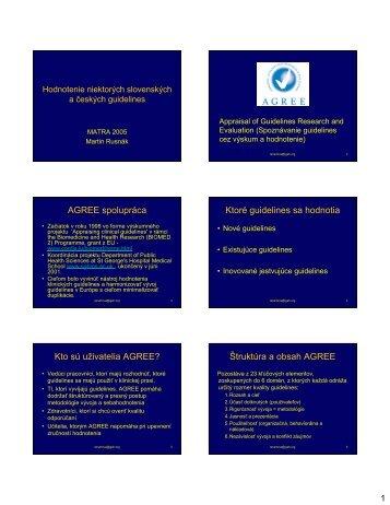 Hodnotenie slovenskych a ceskych guidelines pomocou ... - MATRA