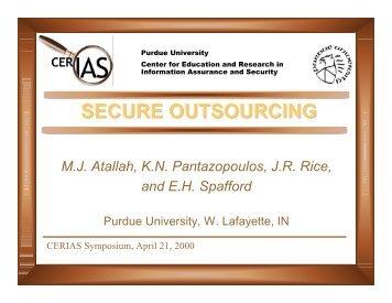 Rice - Secure Outsourcing - Cerias - Purdue University