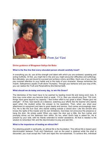 Divine guidance of Bhagawan Sathya Sai Baba - Telugu Bhakti