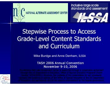 Teaching the 4 step model: Taking grade level standards ... - NAAC