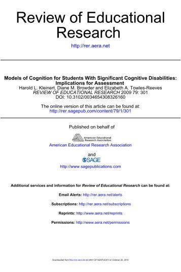 Models of cognition for students with significant cognitive ... - NAAC