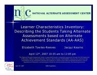 Learner Characteristics Inventory: Describing the Students ... - NAAC