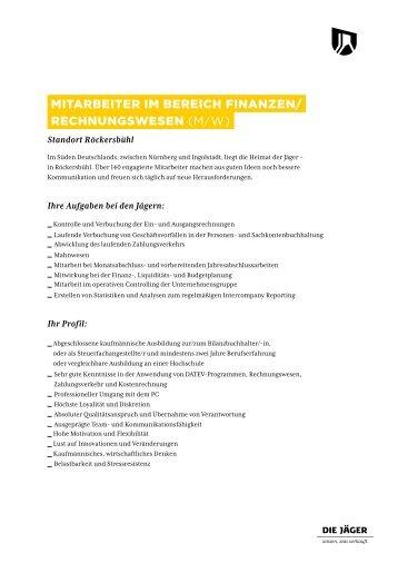 Mitarbeiter iM bereich Finanzen/ rechnungswesen (m/w)