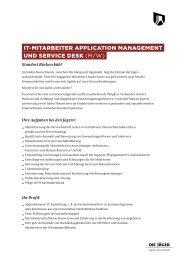 IT-MITarbeITer applIcaTIon ManageMenT und servIce desk (m/w)