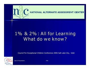 1% & 2%: All for Learning What do we know? - NAAC