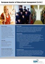 European Master of Educational Management (M.Ed.)