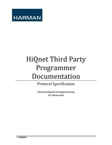 HiQnet Third Party Programmers Guide - Architectural Media Systems