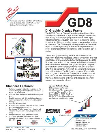 GD8 DI Graphic Display Frame - Space Age Electronics, Inc.