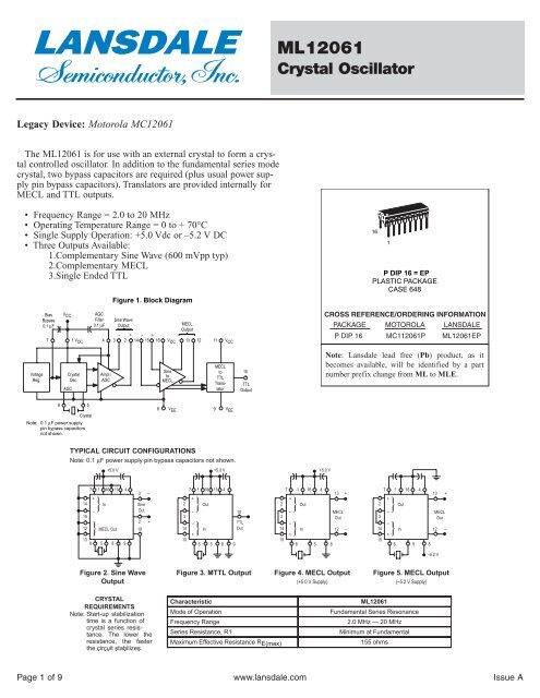 Motorola ML12061 - Datasheet - LANSDALE Semiconductor Inc