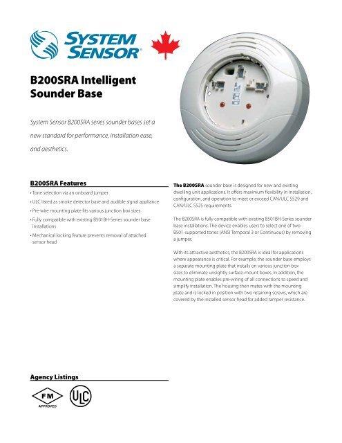 B200SRA Intelligent Sounder Base - System Sensor Canada